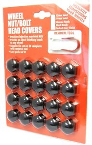 Hexagon-Wheel-Nuts-Covers-x-20-ABS-Plastic-21mm-Black-Quality-Finish-PE1047