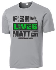 FISH LIVES MATTER Performance Short Sleeve T-shirt Moisture Wicking Bass Fishing