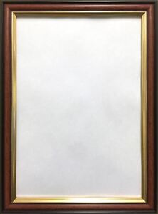 Mahogany-PHOTO-PICTURE-FRAME-WALNUT-WOOD-EFFECT-WITH-GOLD-INLINE-CLASIC-STYLE
