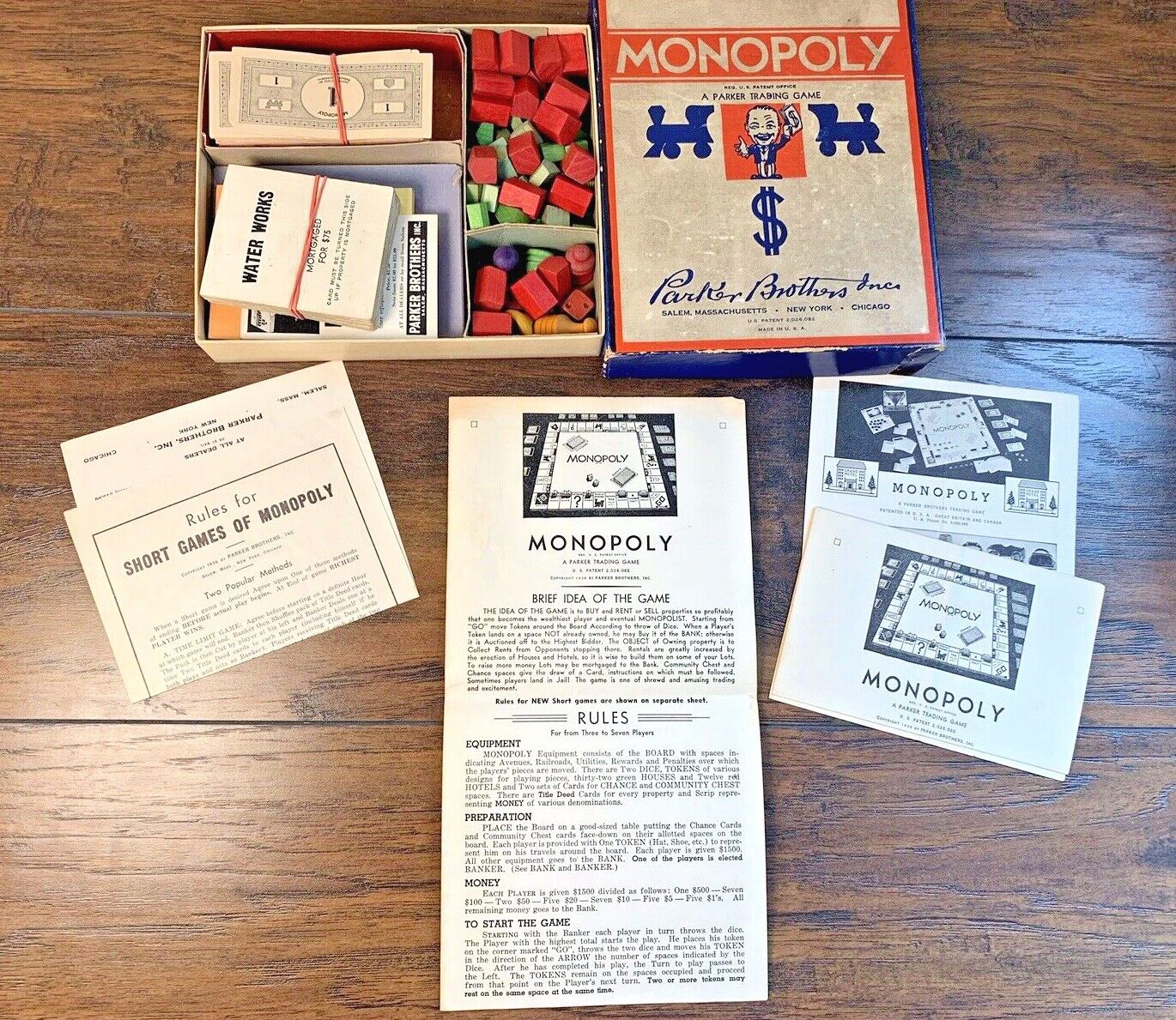 Vinage 1936 Monopoly Parker Bredhers Game Pieces & Box No Board