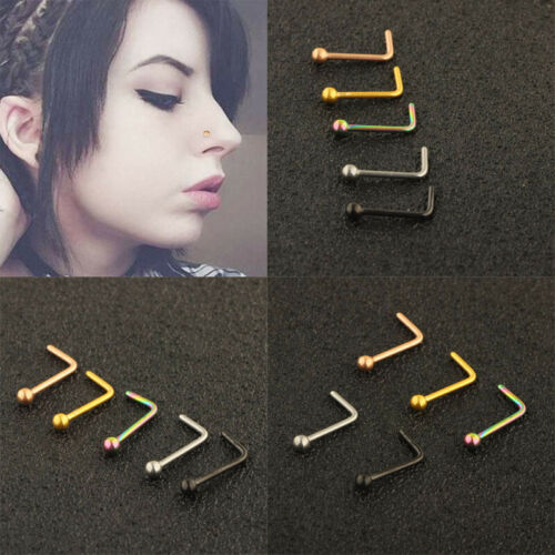 Details about  /Plain Ball L Shape Nose Stud Straight Pin Bone Piercing Fashion Stainless Steel