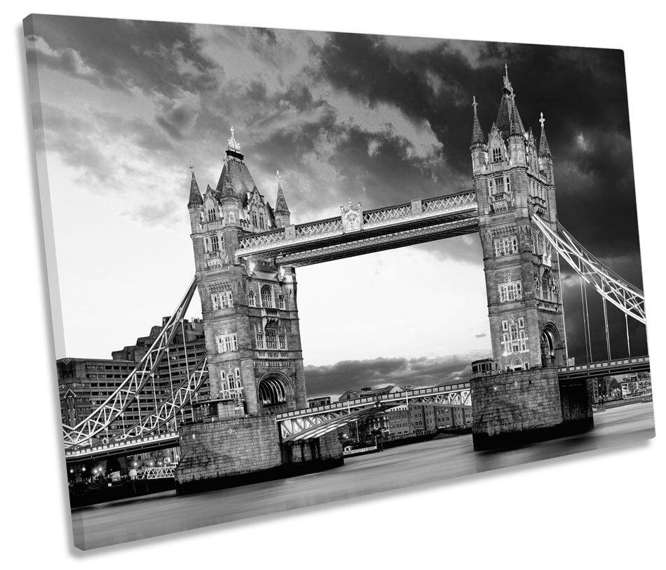 City London London London Tower Bridge Sunset B&W SINGLE CANVAS WALL ART Framed Print c0497f