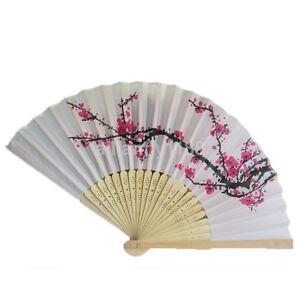 Chinese Folding Hand Fan Japanese Plum Blossom Pattern Pocket Wedding Party Gift