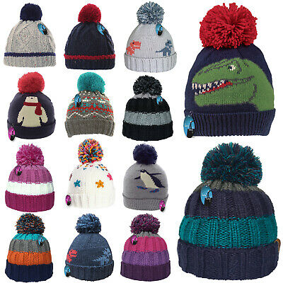 Kids Winter Hat Thick Knitted Warm Wooly Pom Bobble Ski Cute Boys Girls Child UK