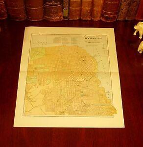 Original 1890 Antique City Map SAN FRANCISCO California CA Historic Landmarks