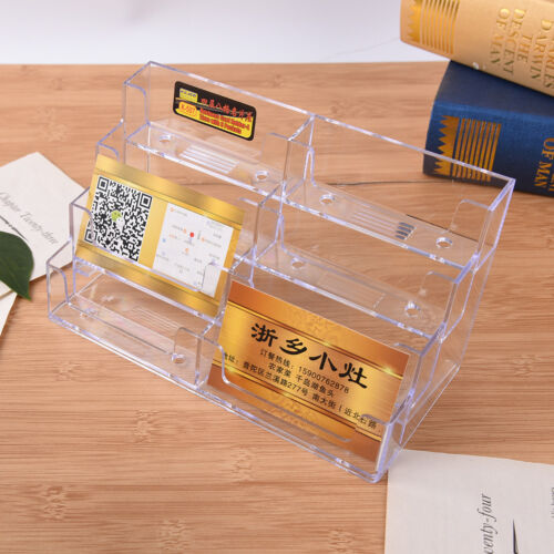 8 Pocket Desktop Business Card Holder Clear Acrylic Countertop Stand Display CH