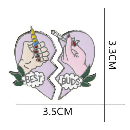 2Pcs//Set BEST BUDS Enamel Brooch Pins Friends Gift Badge Heart Pin  OQF