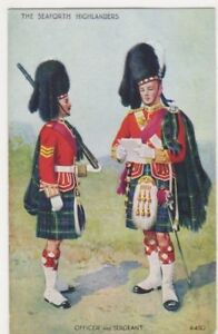 Seaforth Highlanders Officer & Seageant Art Postcard B896