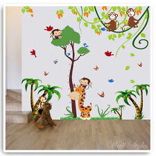 Animal Wall Stickers Owl Monkey Jungle Height Chart Nursery Baby Room Decals Art