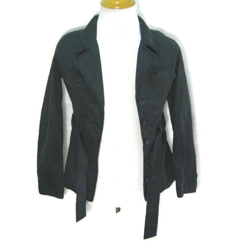 New BANANA REPUBLIC Womens (Large) Dark Blue Button Front Coat Jacket Cotton