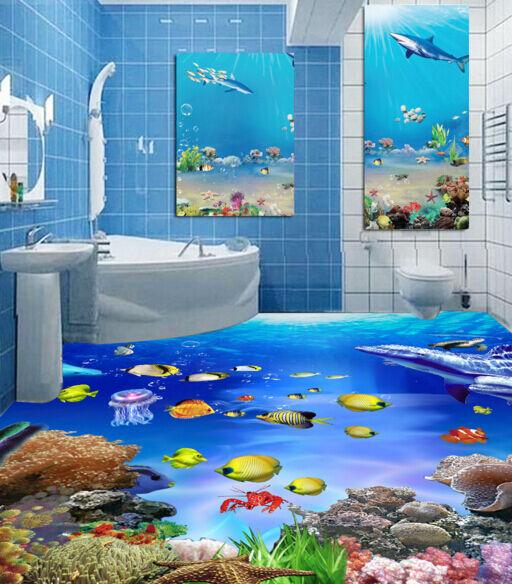 3D submarino Mundo Papel Pintado Mural Parojo Calcomanía de impresión de piso 5D AJ Wallpaper