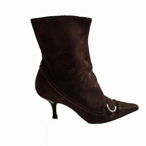 f59f8297bc1f Image is loading SERGIO-ROSSI-Chocolate-Brown-Suede-Pointed-Toe-Ankle-
