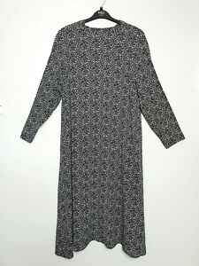 M-amp-S-UK-Size-18-Black-amp-White-High-Tie-Neck-Ditsy-Tea-Tunic-Dress-RRP-45