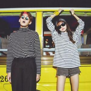 Harajuku-Women-Long-Sleeve-Turtleneck-Striped-Tops-Blouse-T-shirt-Shirt-JJ