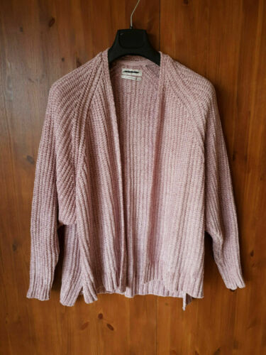 NEW RRP £46 UO URBAN OUTFITTERS CARDIGAN Rose Pink Chenille Rib Knit XS S M