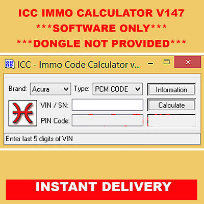 ICC Immo Code Calculator v147 YOU WILL Need a Dongle To Use The Program |  eBay