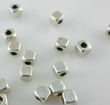 60/240/2000pcs Alloy Small Square blocks Spacer Beads Gold, Silver 3mm