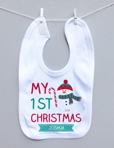 PERSONALISED BABY vest sleepsuit pyjama t-shirt 1st CHRISTMAS milestone snowman