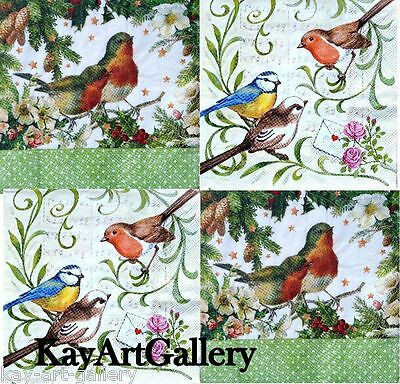 4 x Single Vintage Table Paper Napkins /Craft /for Decoupage / 2 DIFFERENT BIRDS