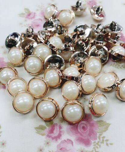 20 Pearl Rose Gold Rim 13mm Sewing Shank Button//trim//craft//vintage//dress Sb81