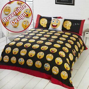 Emoji-Icones-Set-Housse-de-Couette-Double-Neuf-Design-Reversible-Visage-Smiley