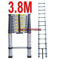 3.8M Telescopic Ladder - EN131 Aluminium Foldable Extension Ladder Max. 150kg