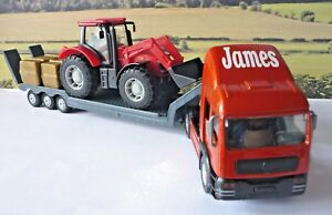 PERSONALISED-NAME-Gift-Boys-Toy-RED-TRANSPORTER-LORRY-and-TRACTOR-Present-Boxed