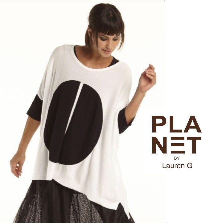 Planeta por Lauren G 456K suéter  tejido de la píldora Pima BOXY MANGA CORTA 2018 Negro O blancoo  bajo precio