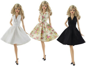 3 PCS Fashion Skirt Evening Dress Outfit Clothes+3 Pairs shoes For Barbie Doll