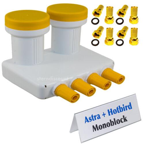 Monoblock QUAD LNB 0,1db OPTICUM ✓ ASTRA 19,2°E HOTBIRD 13,0°E ✓für 4 Receiver