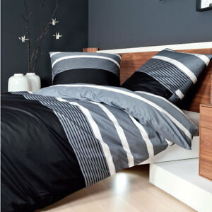 janine j d mako satin bettw sche design 8468 08 silber schwarz wei gestreift ebay. Black Bedroom Furniture Sets. Home Design Ideas