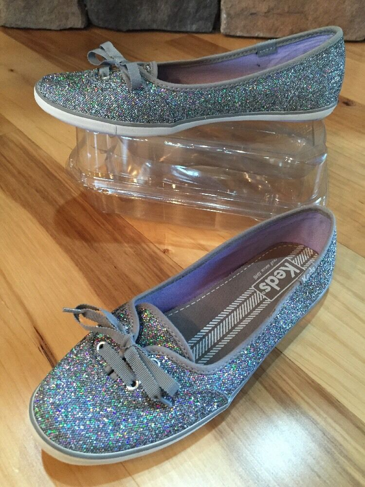 Keds Teacup Silver Glitter Plimsoll Slip On Sneaker Boat shoes  6 M Wedding