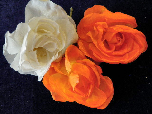 Vintage Millinery Flower Collection All Roses Orange Ivory for Hat Hair H213
