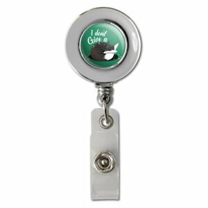 Black-Fox-I-Don-039-t-Give-A-Pun-Retractable-Reel-Chrome-Badge-ID-Card-Holder-Clip