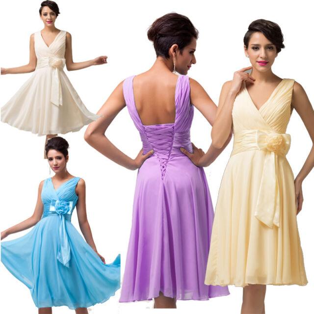 Formal Knee Length Prom Evening Party Dress Bridesmaid Cocktail Graduation Dress