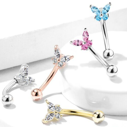 """16g 5//16/"""" PRONG CZ BUTTERFLY CURVED EYEBROW RING BARBELL PIERCING JEWELRY"""