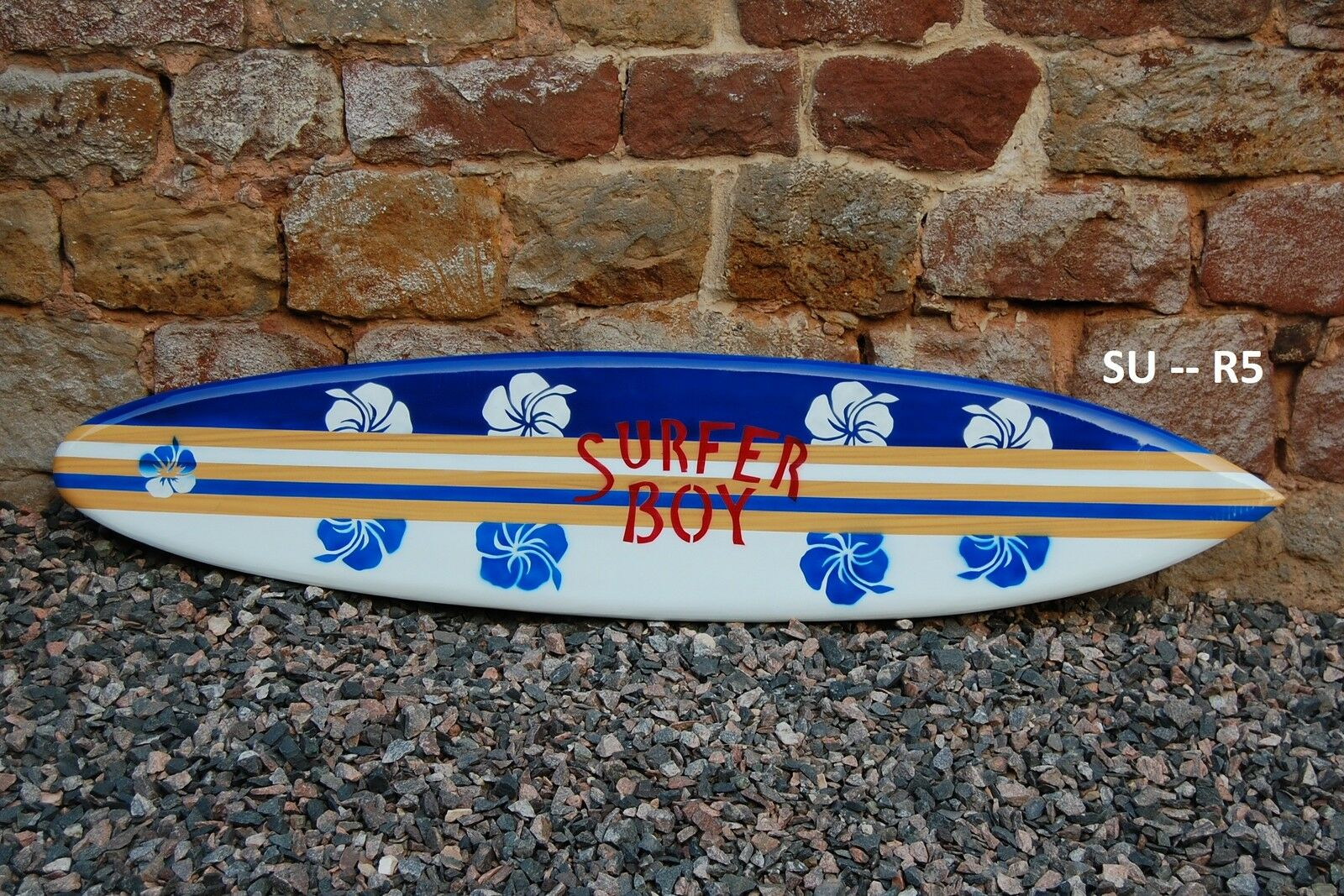 MODEL WOOD 100cm SURFBOARD PAINTED BOTH SIDES blueE SURFER BOY HIBISCUS su100R5D