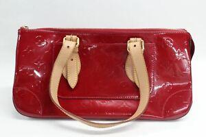 Louis Vuitton Damen Monogramm Rot Lack Leder Handtasche Doppel Braun Riemchen