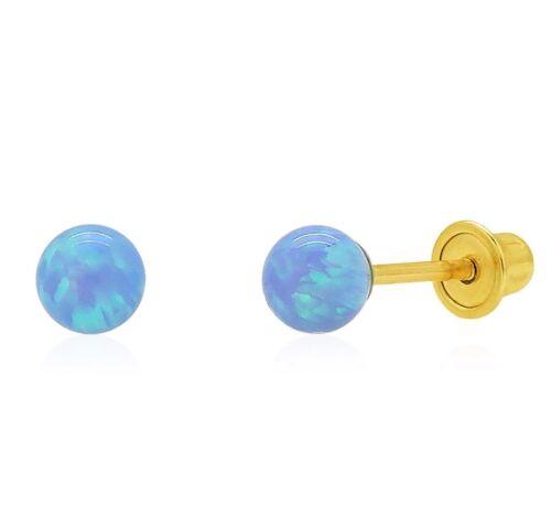 4 mm 14K Solide Or Jaune Bleu clair Opal Round Ball Screwback Clous D/'Oreilles