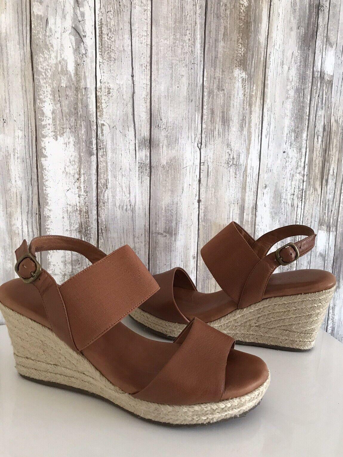 Gentle Souls Kara Tan Brown Leather Elastic Platform Wedge Sandal shoes 8