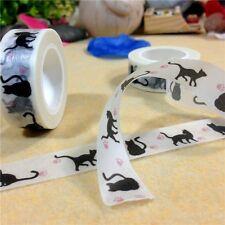 10m / 15mm bande motif ''CHAT'' papier collant, ruban adhésif étiquette, DIY