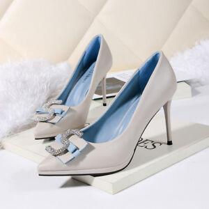 images détaillées 56536 5cc07 Détails sur Chaussures Éscarpins Élégant Femme Stiletto 9 cm Gris  Confortable Cuir PU 1448
