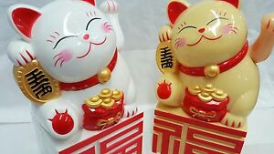 Joblot of 20 Gold Rough Chinese Lucky cats new wholesale 11cm high x 6cm wide B