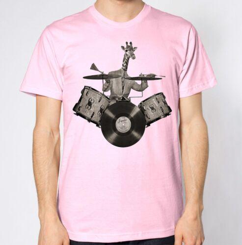 Giraffe T-Shirt Drums Music Drummer Funny Top Animal Lover Hilarious