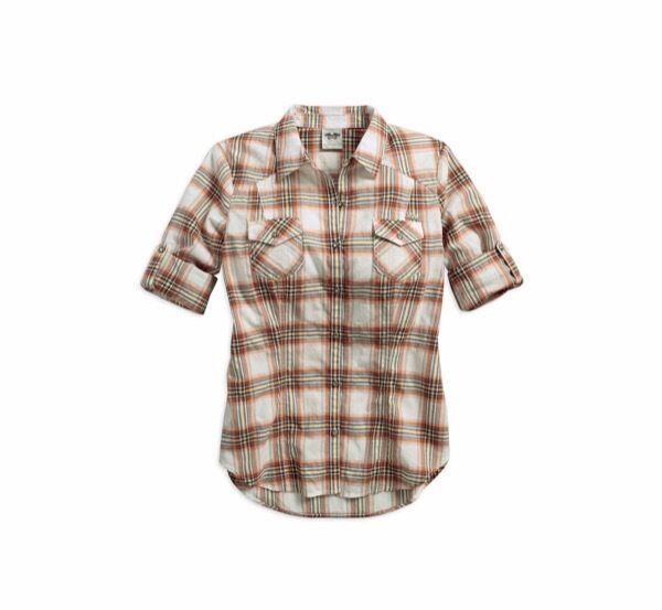 GENUINE Harley-Davidson Woherren LARGE Roll-Tab Sleeve Plaid Shirt NEW WITH TAG
