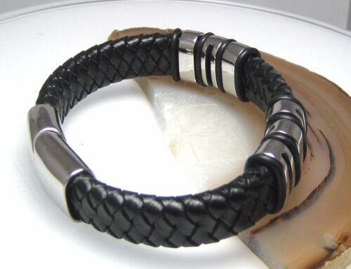 Edelstahl Armband Leder geflochten Lederarmband 6xBeads 18-22cm schwarz braun