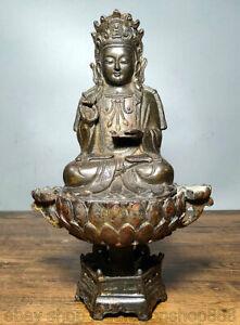 9-6-034-vieux-siege-en-bronze-chinois-Guan-Yin-Boddhisattva-deesse-Lotus-Statue