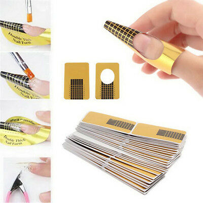 New 100X Gold Nail Art Tips Extension Forms Guide French DIY Tool Acrylic UV Gel