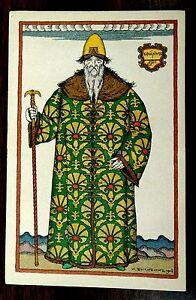 Art-Nouveau-Costume-Opera-Boris-Godounow-Bilibin-Imp-Russia-rare-1908-Postcard
