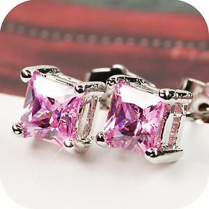 18k-white-gold-gp-made-with-square-Swarovski-crystal-stud-earrings-pink-5mm